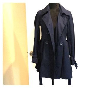 Forever 21 Dark blue pleated Pea Coat Medium